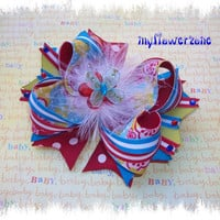 Stacked Hair Bows - Stacked Boutique Hairbows - Polka dots and Stripes Hair bow - Floral Hair Bow - Red Blue Green and Butterfly  Hair Bow