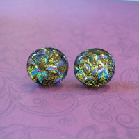 Colorful Dichroic Earrings, Stud Earrings, Fashion Earring Jewelry, Evening Jewelry - Zeldah - 2139 -3