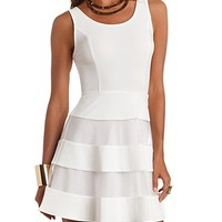Sleeveless Organza-Striped Skater Dress by Charlotte Russe - White