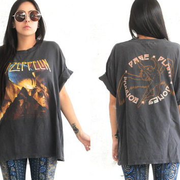 Vintage 80s Band Tee // Led Zeppelin T Shirt // Jimmy Page Robert Plant // XS Extra Small / Small / Medium / Large