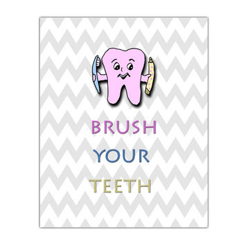 Brush your teeth, kids bathroom decor, wall Art printable, Bathroom Poster,  Kids bathroom Poster, baby shower, Chevron, 8x10