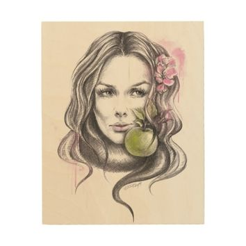 Eve|Woman portrait with apple Wood canvas