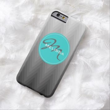 Chevron pattern turquoise monogram iPhone 6 case