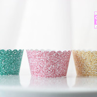 Glittered-style/ Faux Glitter Cupcake Wrappers in Pink, Teal and Yellow Gold- Set of 12