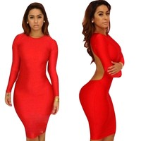 Sexy Sangria Red Long Sleeves Clubwear Night Bandage Bodycon Dress for Women (S)