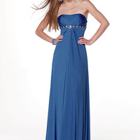 Buy Beautiful Royal Blue Empire Waistline Floor Length Matte Satin Bridesmaid Dress with Beadings under 200-SinoAnt.com