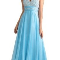 Faironly Halter Silk Chiffon Women's Formal Evening Prom Dress #Rgb