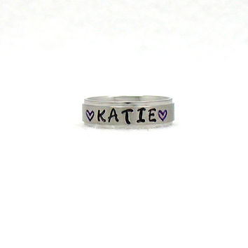 Katie Ring, Name Ring, Stainless Ring, Stainless Steel Ring, Personalized Ring, Custom Name Ring, Hand Stamped Ring, Hand Stamped,
