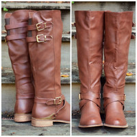 Boulder Bluffs Brown Tall Buckle Boots
