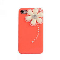 Handmade hard case for iPhone 4 & 4S: Bling elegant Sunflower Pearl(custom are welcome)