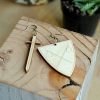 ReForm School: Sword + Shield Wooden Earrings