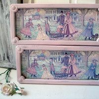 Vintage Homco Wall Hangings, Joan Stier Art, Pair of Pink Long Frames with Glass and Backing, Nursery Decor, Kids Bedroom, Baby Pink Frames