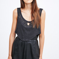 Pins & Needles Davina Grommet Tank in Washed Black - Urban Outfitters