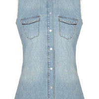 MOTO Sleeveless Denim Shirt