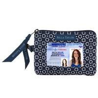 Quilted Purse, Handbag, Wallet - Dark Red, Chambray Blue and White Salute ID Please