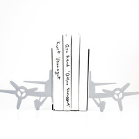Bookends - Airlane from the past - FREE DELIVERY laser cut for precision metal bookends unique gift for your home
