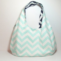 Mint Reversible Bag, Navy Reversible Bag, Reversible Hobo Bag, Customize, Large Hobo Bag, Large Mint Bag, Casual Mint Bag, Navy Chevron Bag