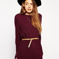 ASOS   ASOS Sweater In Cable Knit With Belt at ASOS