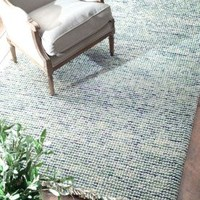 Ornate Felted Wool Dhurrie DH01 Green Rug   Contemporary Rugs