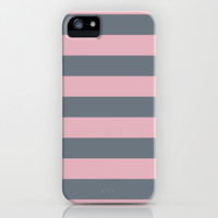 Stripe Horizontal Coral Pink Gray iPhone & iPod Case by BeautifulHomes