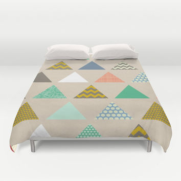 geo triangles Duvet Cover by Sharon Turner | Society6