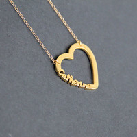 Personalized Heart Necklace, Name Necklace, Bridesmaid Necklace, Gold Heart , Custom Heart Necklace