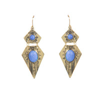 AZTEC STONE POINTED EARRINGS - BLUE