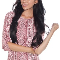 On a Roll Tribal Print Rolled Sleeve Top - Red