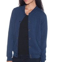 Cheer It On Quilted Baseball Jacket - Navy