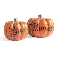 """Set of Two """"Give Thanks"""" Pumpkins"""
