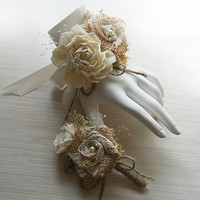 Burlap & Sola Flower Wedding Wrist Corsage and/or Boutonniere, Made to Order.