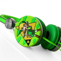 Zelda headphones earphones handpainted Link Triforce green yellow