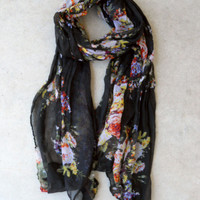 Black Bouquet Scarf [6012] - $12.00 : Vintage Inspired Clothing & Affordable Dresses, deloom | Modern. Vintage. Crafted.