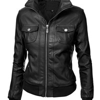 Lock and Love Women's Casual Faux Leather Jacket
