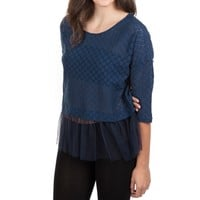 INA Juniors Crocheted Lace Top with Mesh Peplum at Von Maur