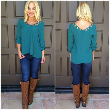 On The Edge Cutout Blouse - TEAL