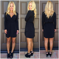 Little Lovely Wrap Dress - BLACK
