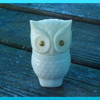 Vintage 70s 80s AVON Retro Mod Owl Perfume Bottle Gold Eyes and Off White