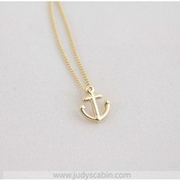 Gold Dipped Smooth Anchor Necklace - Make A Wish Necklace - Make a Wish Necklace - Landing Page