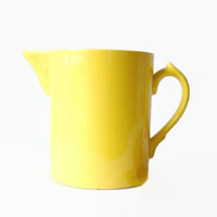 Retro Yellow Pottery Pitcher Vintage Kitchen Serving, Spring and Summer Mod Home Decor, Lemon Yellow