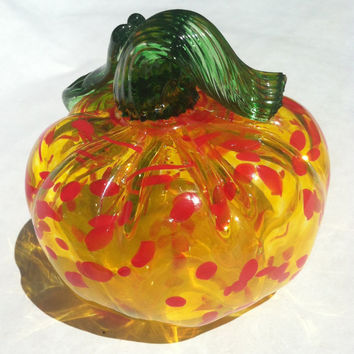 Blown Glass Pumpkin in Vivid Yellow and Red Orange