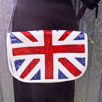 Union Jack handbag. Red, White and  Blue sequins and PVC with a faux suede interior. 1980s