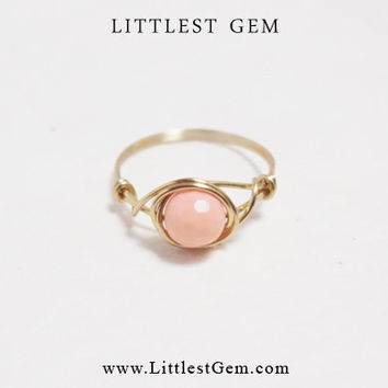 Peach Stone ring - unique rings - custom