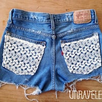 Levis Denim Shorts, Lace Pockets (Size SMALL to MEDIUM)
