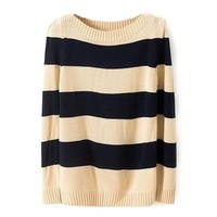 ZLYC Women's Striped Long Sleeve Pullover Knit Sweater