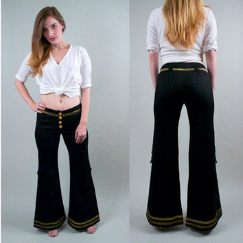 Vintage 70s Black Bell Bottom WOOL Pants wide leg flare hip hugger bellbottom trouser palazzo striped nautical army pants S M