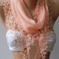 Salmon Pink - Elegance Shawl / Scarf with Lace Edge,