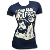 The Hangover One Man Wolf Pack Navy Juniors Graphic Tee Shirt- Hangover, The-Clothing-Juniors-Graphic Tees