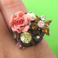SALE - Adjustable Floral Ring with rhinestone details