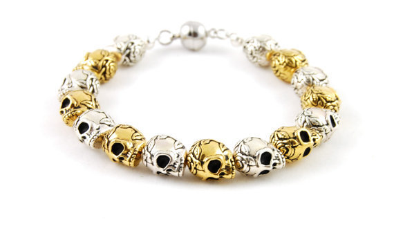 Skull Bracelet, Gold and Silver, Special Edition
